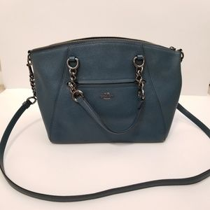 Coach Praire Handbag Blue Pebbled Leather
